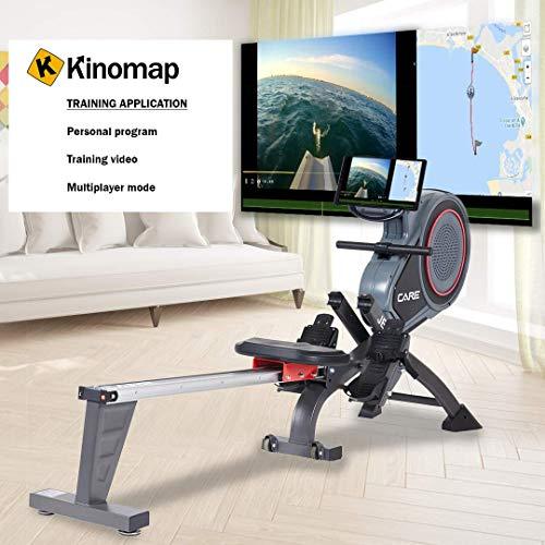 CARE FITNESS - Rameur d'Appartement JET-600 - Rameur Pliable - Freinage Magnétique - Écran LCD 10 Fonctio - Connectivité Kinomap