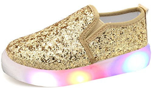 UBELLA Girl's Light Up Sequins Slip On Loafers Flashing LED Casual Shoes Flat Sneakers (Toddler/Little Kid) Gold