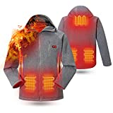 rocboc Heated Hoodie, 5 Heating Zone Intelligent Dual Control Switch, Washable USB Charging Heated Jacket Full-Zip Heated Sweatshirt Heated Clothing (Unisex, No Battery) Grey