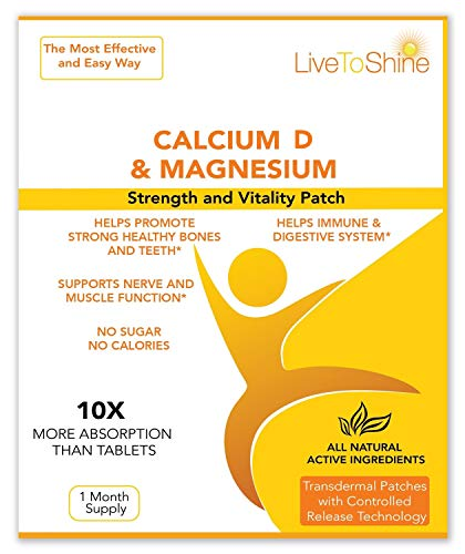 Calcium Magnesium Patch with D3 – Natural High Absorption Womens Hot Flash Relief and Menopause Support – USA made by Live To Shine