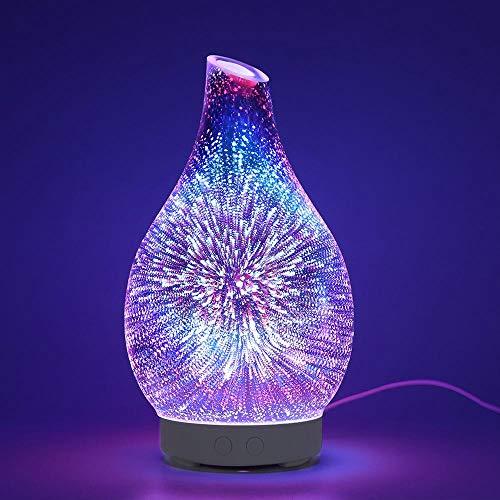 Luz de Noche NuevoHumidificador DeVidrio De 100 MlAroma Difusor De Aceite Esencial Humidificador Ultrasónico con 7 Colores Led Luz Nocturna para El Hogar Usplug