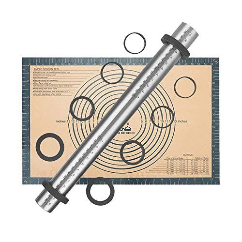 Nudelholz Einstellbares Edelstahl Teigroller, Antihaft Fondant Nudelhölzer mit Distanz-Scheiben in 5 Größen, Backmatte Silikon Backunterlage 60 x 40 cm Ausrollmatte Silikonmatte Teigunterlage Grau