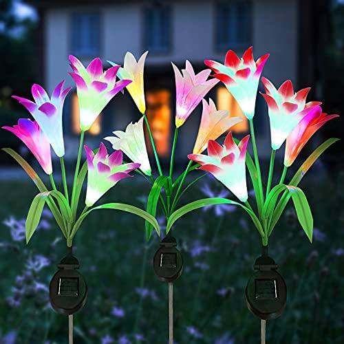 Luz Solar Exterior Jardín, ZVO 3 piezas Solares Flores de Lirio, LED para Hadas Lámparas, 12 Luces Solares de Lirio 7 Multi Color Cambiante, Adornos Decoración para Patio Césped (blanco/rosa/morado)