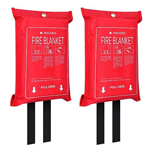 Navaris 2x Löschdecke aus Glasfaser 1,20 x1,20m - 2er Set Feuerlöschdecke Fettbrände - Brandschutzdecke Küche Auto - Feuerdecke Feuerlöscher Decke