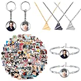 100 Pcs One Direction Stickers, with 2 Keychains, 2 Bracelets, 3 Necklaces, British Idol Group Singer Waterproof Vinyl Decals, for Luggage Car Travel Case Computers Guitar Skateboard Laptop