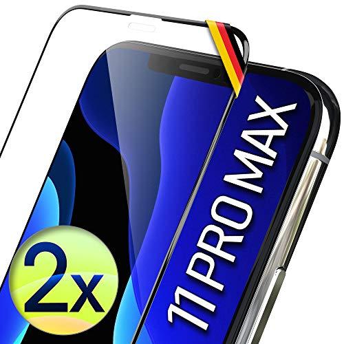 UTECTION 2X Full Screen Schutzglas 3D für iPhone 11 PRO MAX, Xs MAX - Ideale Anbringung Dank Rahmen - Premium Bildschirmschutz 9H Glas - Kompletter Schutz Vorne, Folie Schutzfolie Vollglas 2 Stück