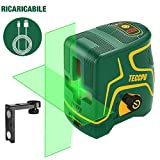Livella laser 30m, USB Ricarica, Linea Laser Verde a Croce TECCPO, 120° Grandangolo, Autolivellante...