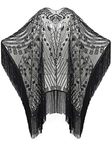 BABEYOND 1920s Sequin Beaded Shawl Wraps Fringed Evening Cape Scarf for Wedding (Black with Black Sequins)