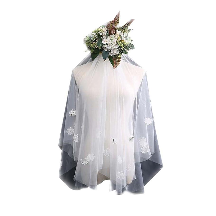 弱い部分塩レースアップリケ#3でエレガントな結婚式のブライダルベールホワイトブライダルベール