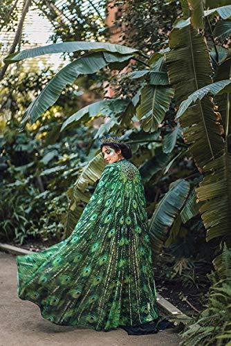 Peacock Feathers Cape scarf bohemian skirt clothing green bird wings cloak