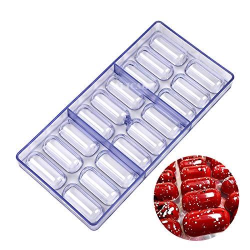 DUBENS 18 stampi ovali in policarbonato 3D per cioccolatini, torte, dolci, dolci, cioccolato, bar, in plastica