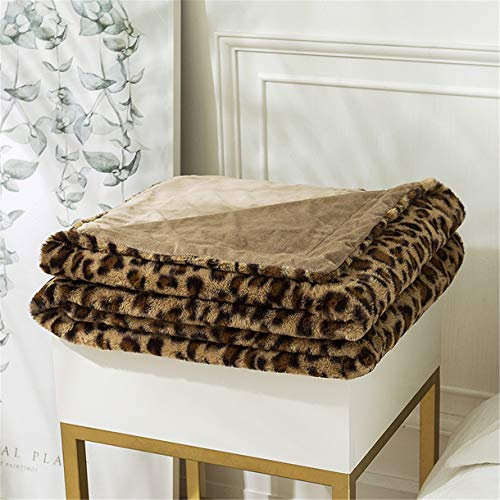 Toalla de sofá clásica Lanzar, Multifunción Espesar Manta de aire acondicionado Suave Calentar Cómodo Lujoso Patrón de leopardo para Siesta Sala Casa Decoración Cuatro estaciones,Metálico,130x160 CM