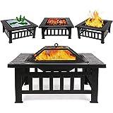 Ampio 3-in-1 Fire Pit con Grill, Outdoor Braciere Tavolo Quadrato Firepit Giardino terrazza Patio Heater, Facile da Montare