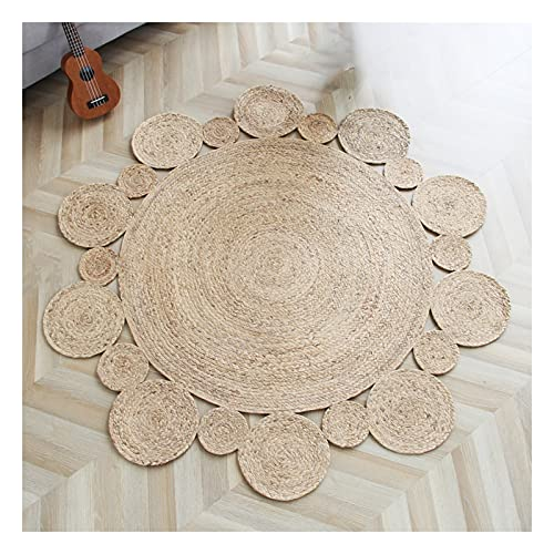 Jute vloerkleed Handgemaakte oppervlakte cirkel tapijt, hand geweven keukenveld tapijt, hand gevlochten ronde tapijt, natuurlijke ronde zeegras tapijt 39.4 inch, live kamer ronde tapijt FYZS