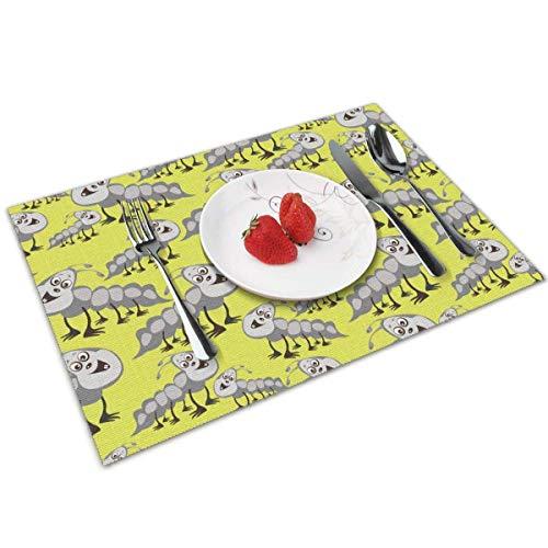 Tovaglietta per piccoli trattori a cingoli per tavolo da pranzo,set di 6 tappetini da tavola in vinile lavabile con rivestimento antiscivolo ad isolamento incrociato (12X18 pollici)