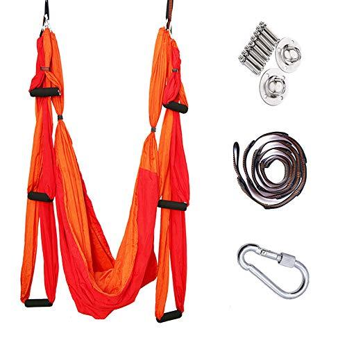 STARCLOCK Anti-Gravity Aerial Yoga Hammock, Indoor Micro-Elastic Adult Nylon Yoga Hammock, Chrysanthemum Rope Extension, Hanging Yoga Hammock, Double Red,Shuangpin Red