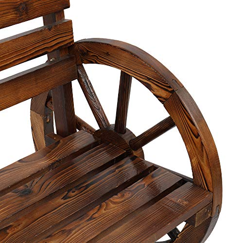 VINGLI Rustic Wooden Wheel Bench, 41