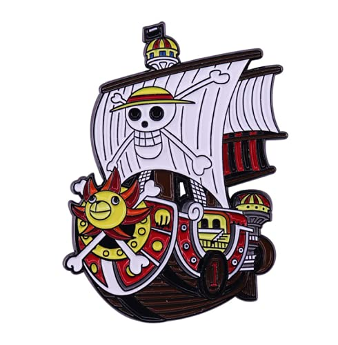 OYSTERBOY One Piece Anime Premium Quality Enamel Zinc Alloy Broochies Pin Straw Hat Jolly Roger Pirates' Ship Thousand Sunny for SchoolBags Backpacks Shirts Hoodies Jeans Jackets Clothing Gifts