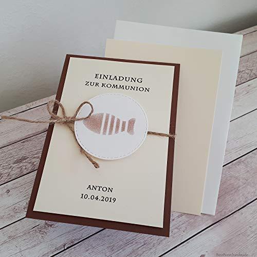 12 personalisierte Einladungskarten Einladung zur Kommunion Konfirmation Firmung Taufe Taufeinladung Kommunionseinladungen Fisch braun creme Handarbeit binnbonn