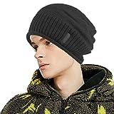 Men Fleece Lined Slouch Sock Beanie Women Winter Knit Watch Hat Toboggan Ski Skull Cap (Black)
