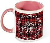 Taza de café de cerámica divertida - Feliz Navidad con arte de patrón de árbol divertido para hombres / Día de San Valentín / Cumpleaños / Vasos navideños-rosa-patrón2