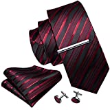 Barry.Wang Uomo Rosso di nozze Cravatte Set con clip di legame fazzoletto di seta Gemelli Taglia unica Rosso Stripe