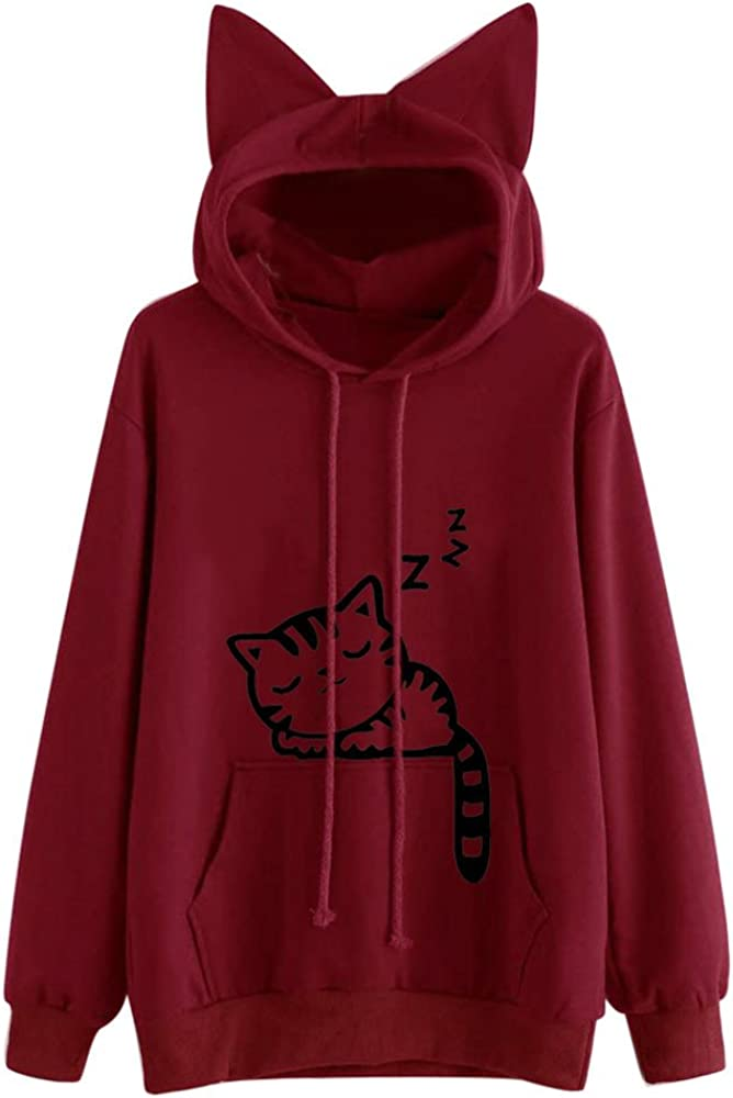 Haheyrte Hoodies for Womens Cute Cat Ear Print Cotton With Pocket Loose Long Sleeve Casual Sweatshirts Pullover Tops Sweaters