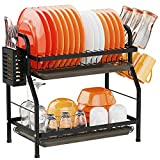 Dish Drying Rack for Kitchen Counter Organization - Swedecor 2 Tier Rust-Resistant Dish Racks with Glass Holder and Utensil Holder Compact Dish Drainer with Drainboard Storage, Black
