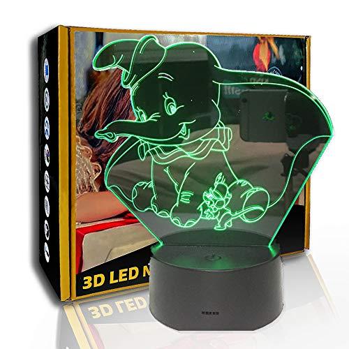 JINYI LED Luz nocturna Dumbo Cartoon Ears Elephant, lámpara de ilusión 3D, F- Base de audio Bluetooth (5 colores), Lámpara visual, Regalo de Navidad