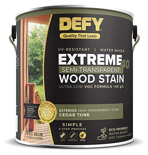 DEFY Extreme 40 Semi-Transparent Wood Deck Stain - Ultra Low VOC Formula, 1 Gallon - Cedar Tone