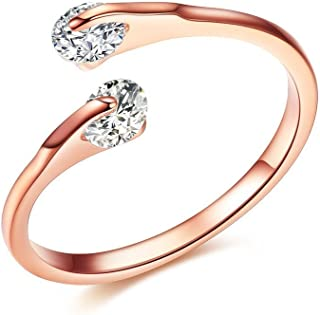 DIFINES Gold Plated Double 0.25ct CZ Tension-mount Adjustable Wedding Band Open Engagement Rings, Gift for Woman/Girl Love, Valentine Day