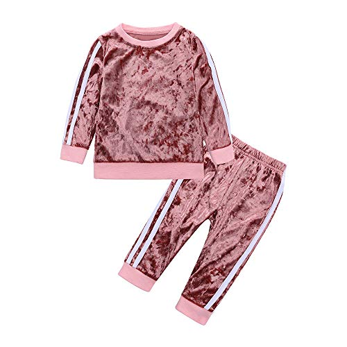 MYGBCPJS 2Pcs Fashion Toddler Baby Girl Velvet Sweatshirt Tops Pant Set Tracksuit Pink