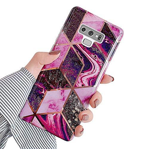 Urhause Kompatibel mit Samsung Galaxy Note 9 Hülle TPU Silikon Bunt Schutzhülle,[Marmor Muster Silikonhülle] Hülle Gemalt,Ultra Slim Durchsichtig mit Muster Bumper Stoßfest Hülle,Rosenrot