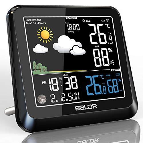 Konsen Wetterstation Farbdisplay Funk mit Außensensor, Thermometer-Hygrometer mit Wettervorhersage Barometer Mondphasen Wecker Uhrzeit und Hintergrundbeleuchtung für innen und außen