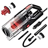 SONRU Car Vacuum Cleaner, 150W 7000PA Handheld Vacuum Cleaner for Car Strong Power Suction Wet/Dry Car Hoover with 15FT Power Cord, HEPA Filter, Brush, Long Hose, Extension Tube, Crevice Tube