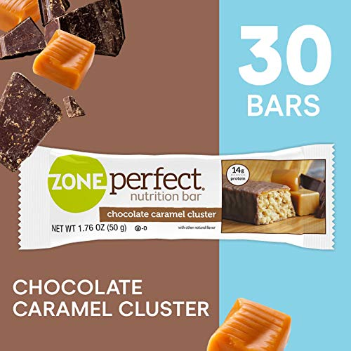ZonePerfect Protein Bars, Chocolate Caramel Cluster, High Protein, With Vitamins & Minerals, 1.76 Ounce (30 Count)