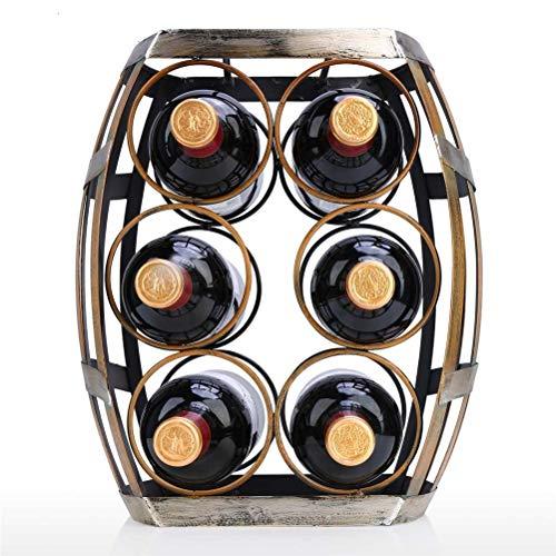 WUHUAROU Estante de Vino de 6 Botellas, Soporte de Barril de Mesa, Soporte de Vino de Hierro Resistente, Estante de exhibición y Almacenamiento Artesanal Hecho a Mano