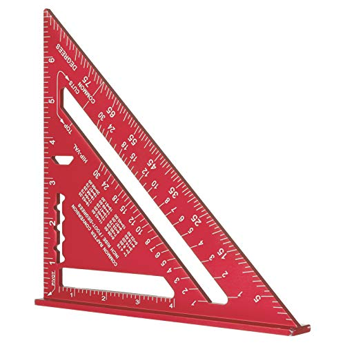 7 Inch Triangle Ruler, Red Triangle Ruler, High Precision Aluminum Alloy Triangle Ruler,Layout Measuring Tool for Engineer Carpenter (Imperial)