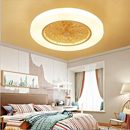 WHL Plafondventilator met verlichting, 72 W, creatieve ventilator, onzichtbare plafondlamp, led-afstandsbediening, dimbaar, stille ventilator, plafondlamp, lamp
