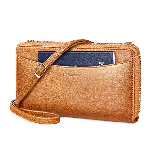 nuoku Passport Holder,RFID Blocking Travel Wallet Document Organizer with Zipper 2 Strap,fits 4 Passports(Brown)