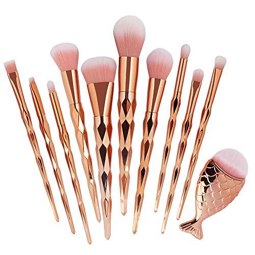 Pinceaux de maquillage 11 pièces de base synthétiques professionnelles fond de mélange correcteur yeux pour le visage liquide poudre crème cosmétiques