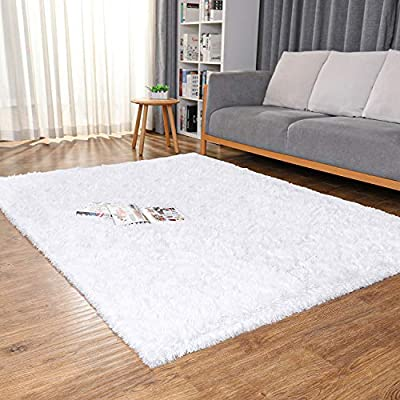 Ophanie Machine Washable Fluffy Area Rugs for Living Room, Ultra-Luxurious Soft and Thick Faux Fur Shag Rug Non-Slip Carpet for Bedroom, Kids Baby Room, Nursery Modern Decor Rug, 4x5.3 Feet White