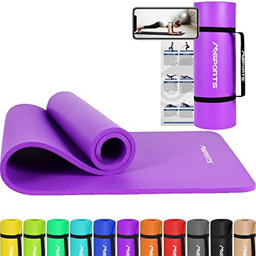 MSPORTS Gymnastikmatte Premium inkl. Tragegurt + Übungsposter + Workout App I Hautfreundliche Fitnessmatte 190 x 100 x 1,5 cm - Violett - Phthalatfreie Yogamatte