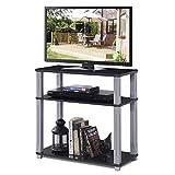 COSTWAY Fernsehtisch, TV Möbel Regal Tisch Schrank, Fernsehschrank, Sideboard, 3 Ablagen (schwarz)