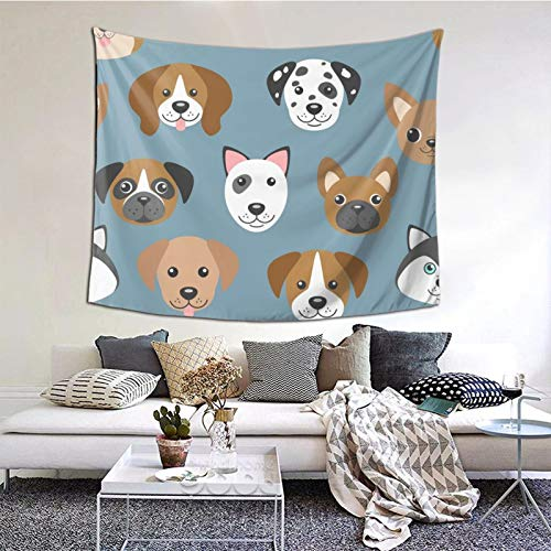 Cartoon Dogs Muzzles Tapestry Forest Tapestry Nature Landscape Tapestry Wall Hanging for Room(60 X 50inches)