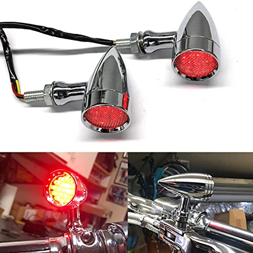 2pcs Chrome Motorcycle Bullet LED Turn Signal Light Blinker Running Tail Light for Harley Honda Ymaha Suzuki Kawasaki