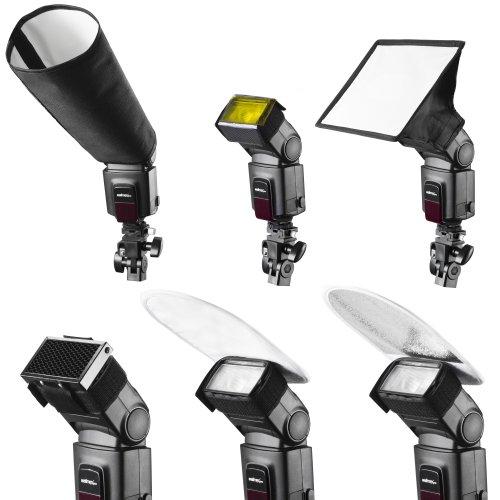 Walimex Pro - Juego de Accesorios para Flashes con Ventana difusora de luz y filtros de Colores
