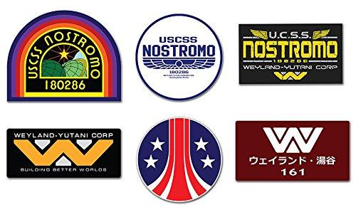 Preisvergleich Produktbild Ti El Es Nostromo Weyland Yutani Corp Sulaco Alien,  Aliens Aufkleber,  6 Laminiert Sticker Set