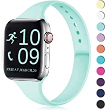Zekapu Sport Band Compatible for Apple Watch 38mm 40mm, Soft Silicone Narrow Slim Sport Replacement Wristband for iWatch Series 5, Series 4, Series 3, Series 2, Series 1 Women, Blue Sea