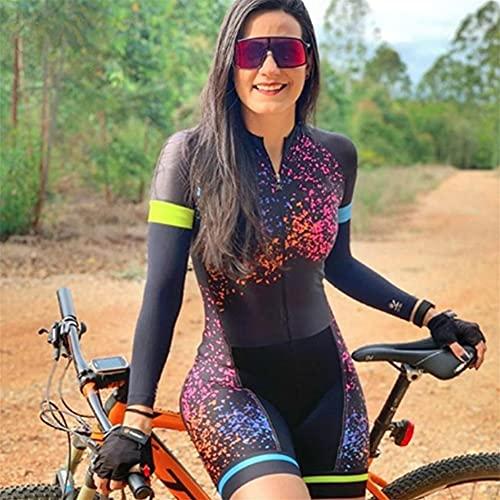 Triathlon Damen Radtrikot Langarm Sportbekleidung Radbekleidung Professionelles Team Mountainbike Bekleidung Overall (Color : 5, Size : Small)